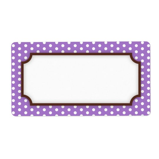 Chic blank purple violet polka dot dots pattern shipping label