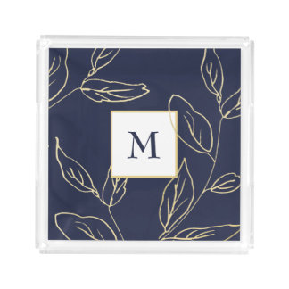 Chic Blue and Faux Gold Botanical with Monogram Acrylic Tray
