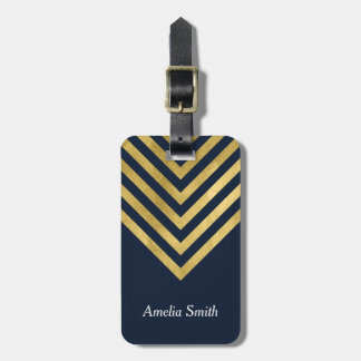 Chic Blue and Faux Gold Geometric Luggage Tag