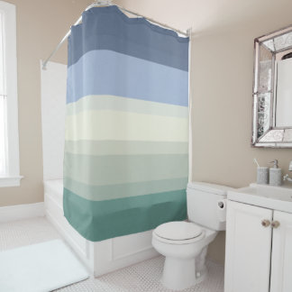 Chic Blue and Teal Green Striped Shower Curtain