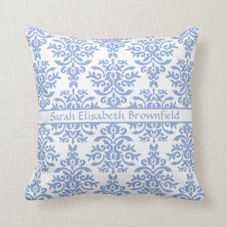 Chic Blue and White Damask Pretty Pattern Throw Pillow