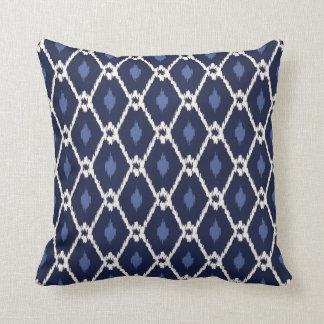 Chic blue and white ikat diamond pattern cushion