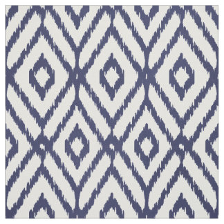 Chic blue and white ikat tribal diamond pattern fabric