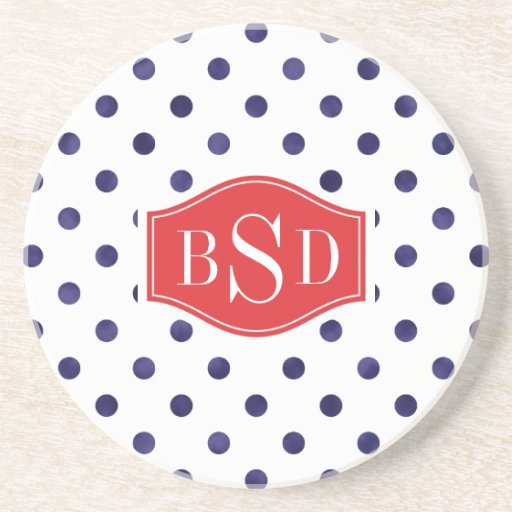 Chic blue and white polka dots patterns monogram drink coasters