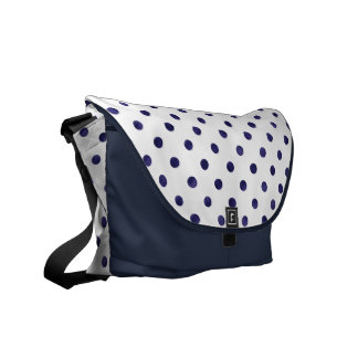 Chic blue and white polka dots patterns monogram courier bags
