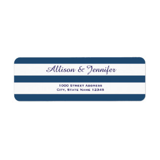 Chic Blue and White Striped Address Return Address Label