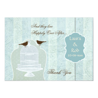 Chic blue bird cage, love birds Thank You 13 Cm X 18 Cm Invitation Card