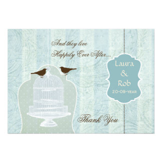 Chic blue bird cage, love birds Thank You Invite