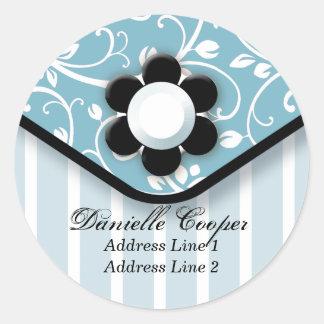 Chic Blue Fashion Address Label Round Sticker