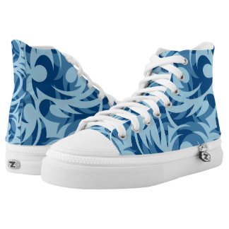 Chic Blue French Floral High Top Shoes-US Women