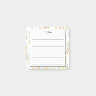 Chic Blue & Gold Leaf A Note From Monogram Notepad
