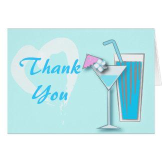 Chic Blue Hawaii Martini Thank You Card