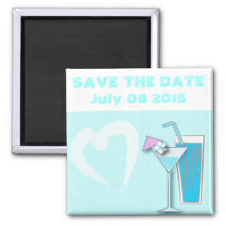 Chic Blue Hawaii Martini Wedding Favors Square Magnet
