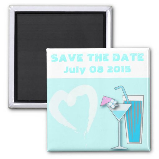 Chic Blue Hawaii Martini Wedding Favors Magnets