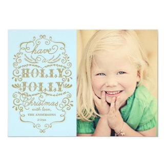 Chic Blue Holly Jolly Christmas Custom Photo Cards 13 Cm X 18 Cm Invitation Card