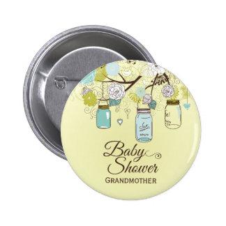 Chic blue mason jar floral baby shower button