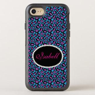Chic Blue & Pink Leopard Print Monogram Case