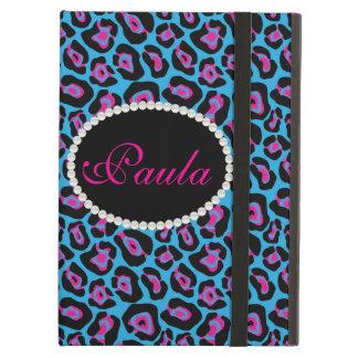 Chic Blue & Pink Leopard Print Monogram Ipad Case