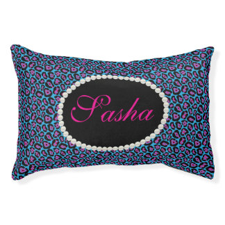 Chic Blue & Pink Leopard Print Name Monogram Pet Bed