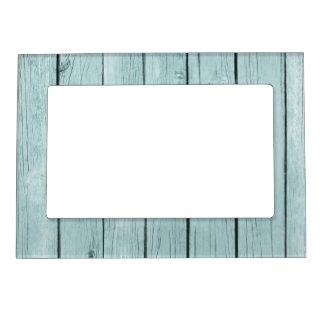 Chic Blue Rustic Wood Magnetic Picture Frames