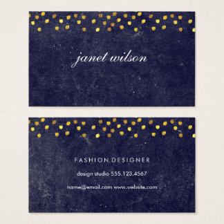 chic blue texture with golden spot pattern business card