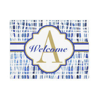 Chic Blue Tye Dye Stripes Monogrammed Doormat