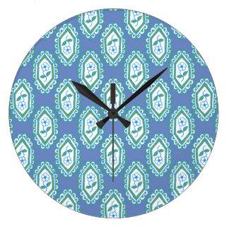Chic Blue Vintage Periwinkle Floral Pattern Clocks