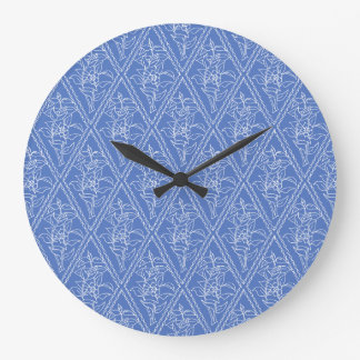 Chic Blue Vintage Periwinkle Floral Pattern Wall Clocks