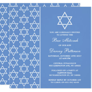 Chic Blue & White Jewish Star Of David Bar Mitzvah Card