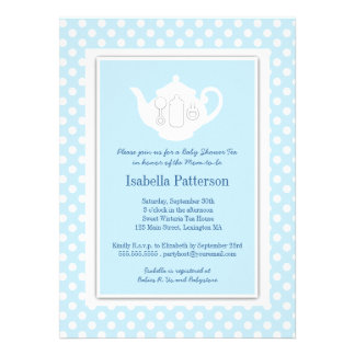 Chic Blue White Teapot Baby Shower Tea Party Personalized Invite