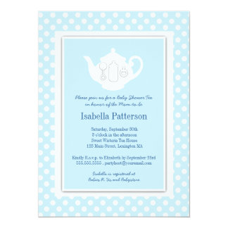 "Chic Blue | White Teapot Baby Shower Tea Party 5.5"" X 7.5"" Invitation Card"