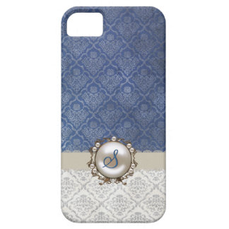 Chic Blue & Winter White Damask iPhone 5 Case
