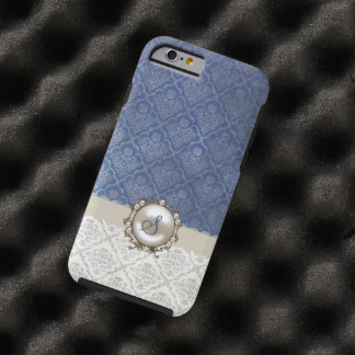 Chic Blue & Winter White Damask iPhone 6 case