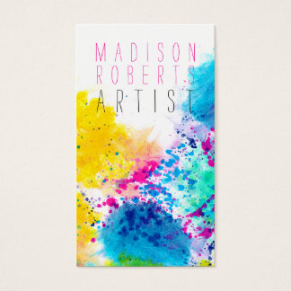Chic blue yellow pink abstract watercolor splatter