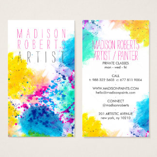 Chic blue yellow pink abstract watercolor splatter business card