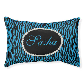 Chic Blue Zebra Print Pattern Name Monogram Pet Bed