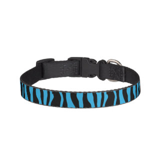 Chic Blue Zebra Print Pet Collar