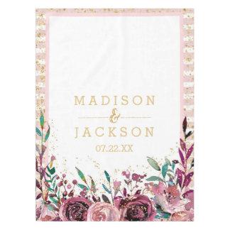 Chic Blush Flowers Stripes & Gold Wedding Monogram Tablecloth