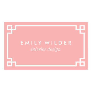 Chic Blush Pink and White Greek Key Pack Of Standard Business Cards