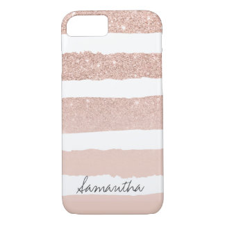 Chic blush pink faux rose gold stripes custom iPhone 8/7 case