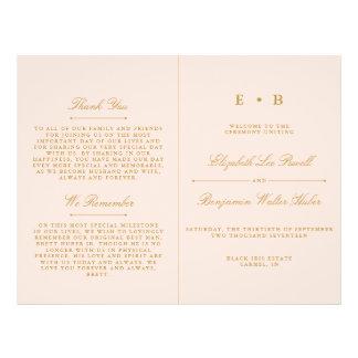 Chic Blush Pink & Gold Wedding Program Template Flyer