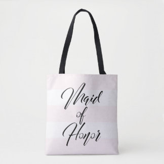 Chic Blush Pink White 3 Stripe Black Script Tote