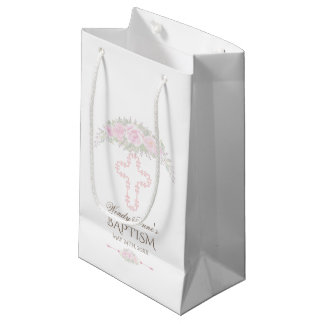 Chic Blush Rose Garden Floral Girl Christening Small Gift Bag