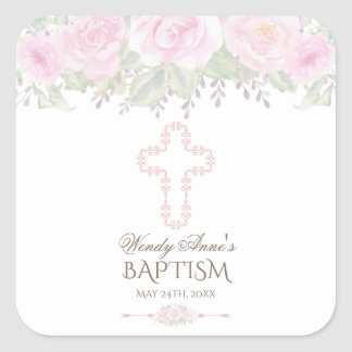 Chic Blush Rose Garden Floral Girl Christening Square Sticker