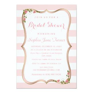 Chic Blush Stripes Gold Floral Bridal Shower Card