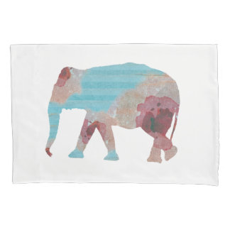 Chic Bohemian Stripes & Floral Elephant Pillowcase