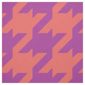 Chic bold orange purple houndstooth pattern fabric