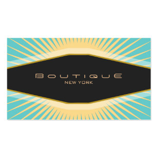Chic Boutique Black Turquoise and Yellow Retro Double-Sided Standard Business Cards (Pack Of 100)