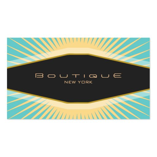 Chic Boutique Black Turquoise and Yellow Retro Business Card Templates