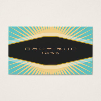 Chic Boutique Black Turquoise and Yellow Retro Business Card
